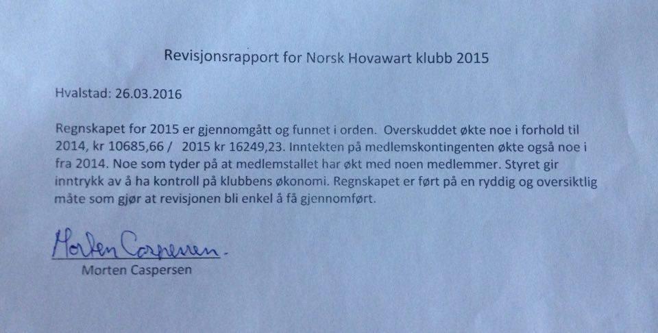 Revisjonsrapport Norsk Hovawartklubb 2015